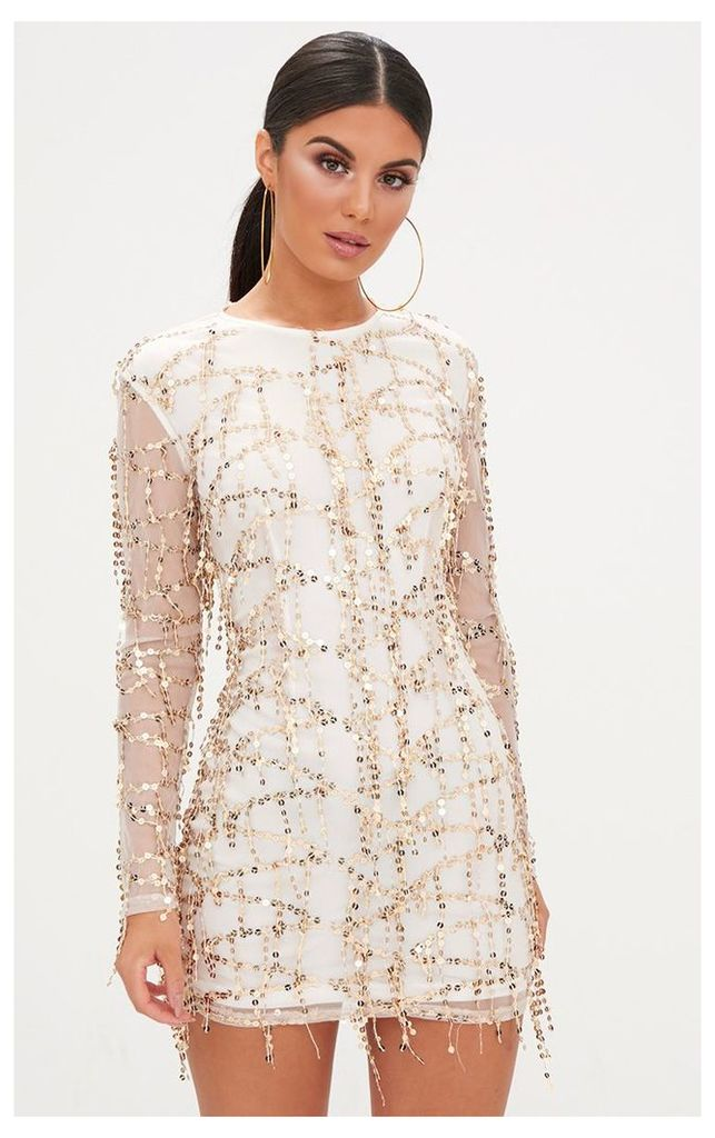 Rose Gold Sequin Detail Long Sleeve Bodycon Dress