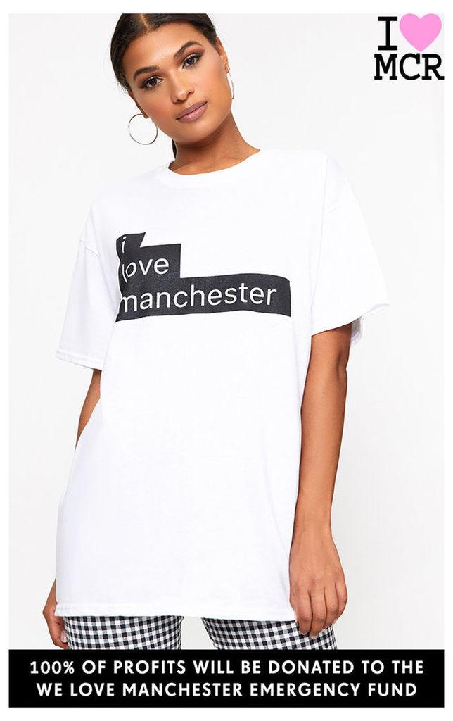Charity White I Love Manchester T Shirt