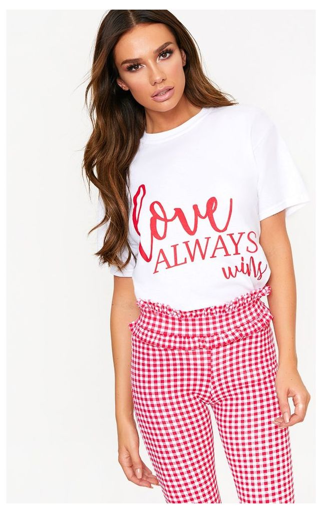 Love Always Wins Slogan White T Shirt