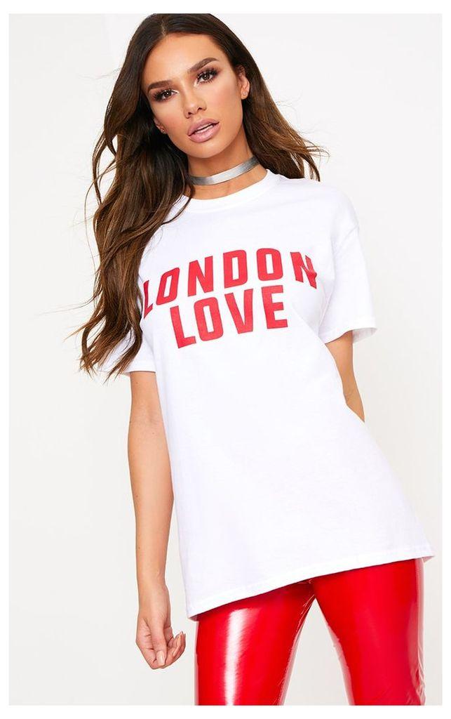 London Love Slogan White T Shirt