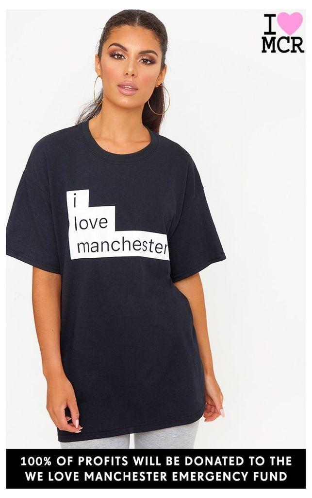Charity Black I Love Manchester T Shirt