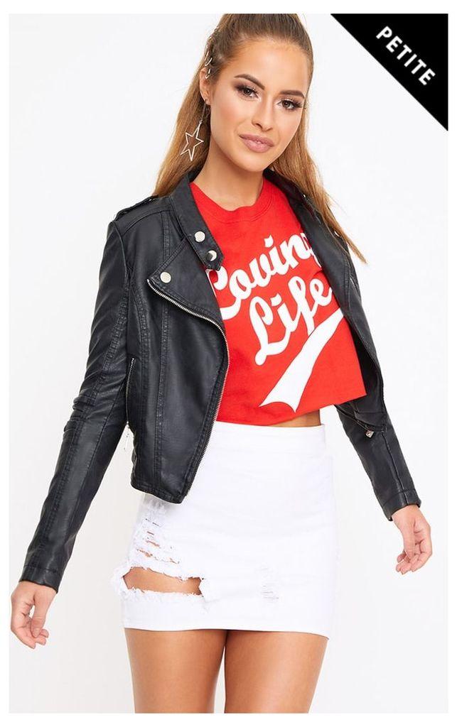 Petite Black Collarless PU Jacket