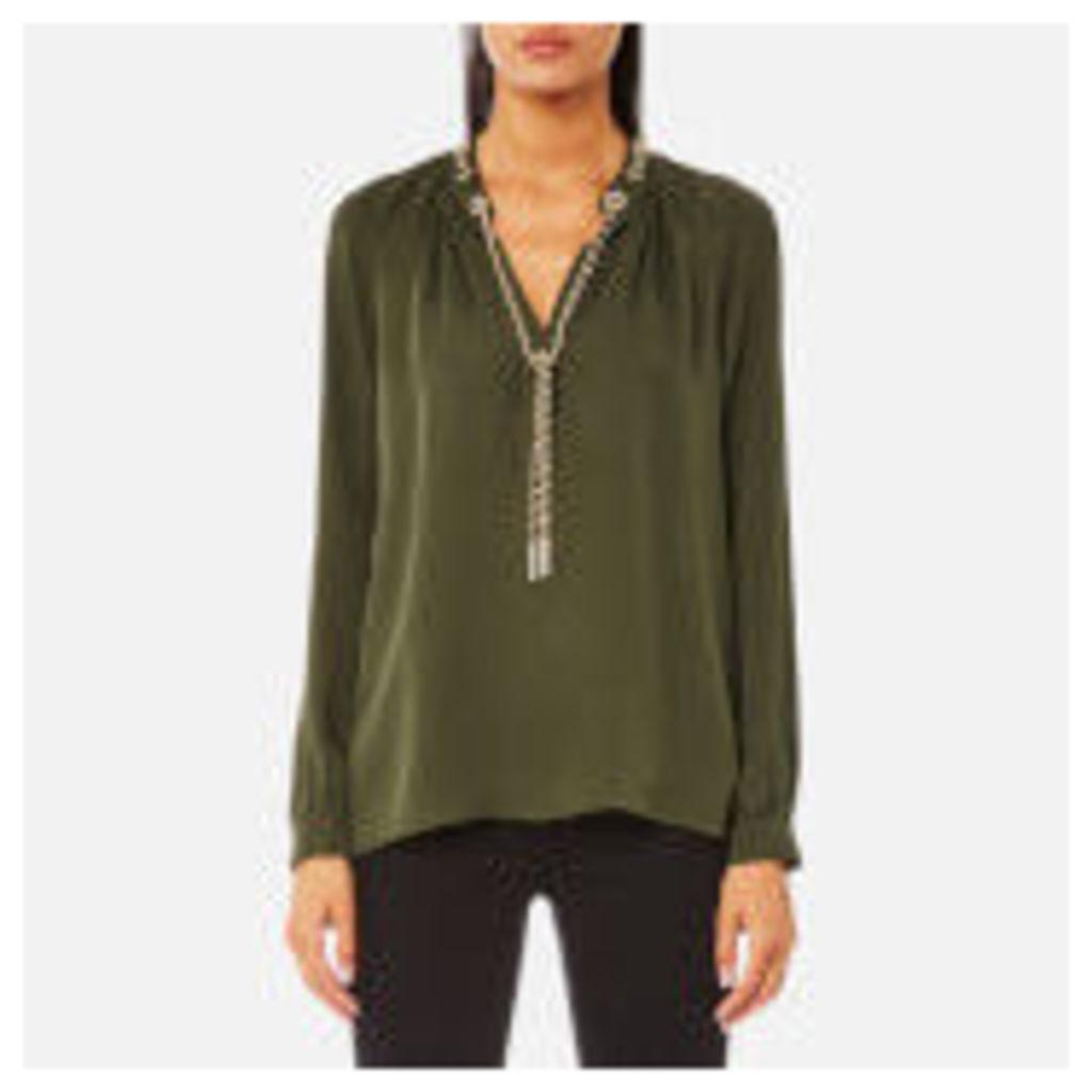 MICHAEL MICHAEL KORS Women's Slit Long Sleeve Chain Neck Top - Ivy