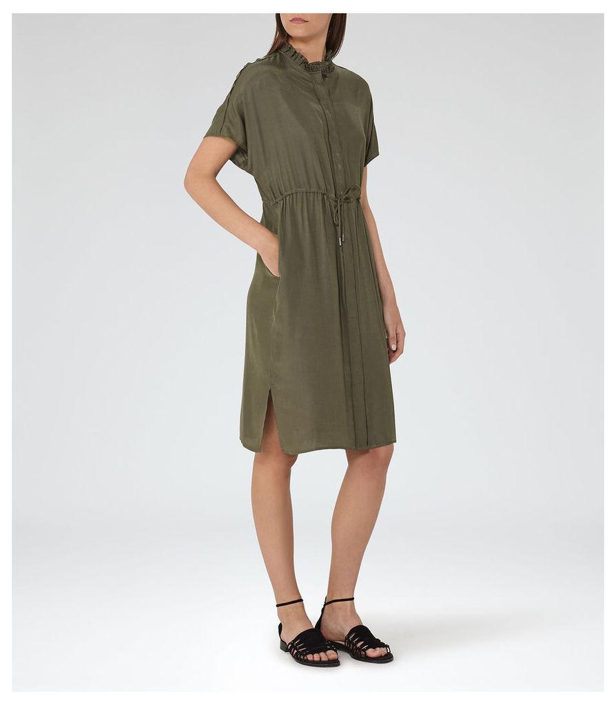 REISS Isabeli - Womens Short Sleeved Dress in Green