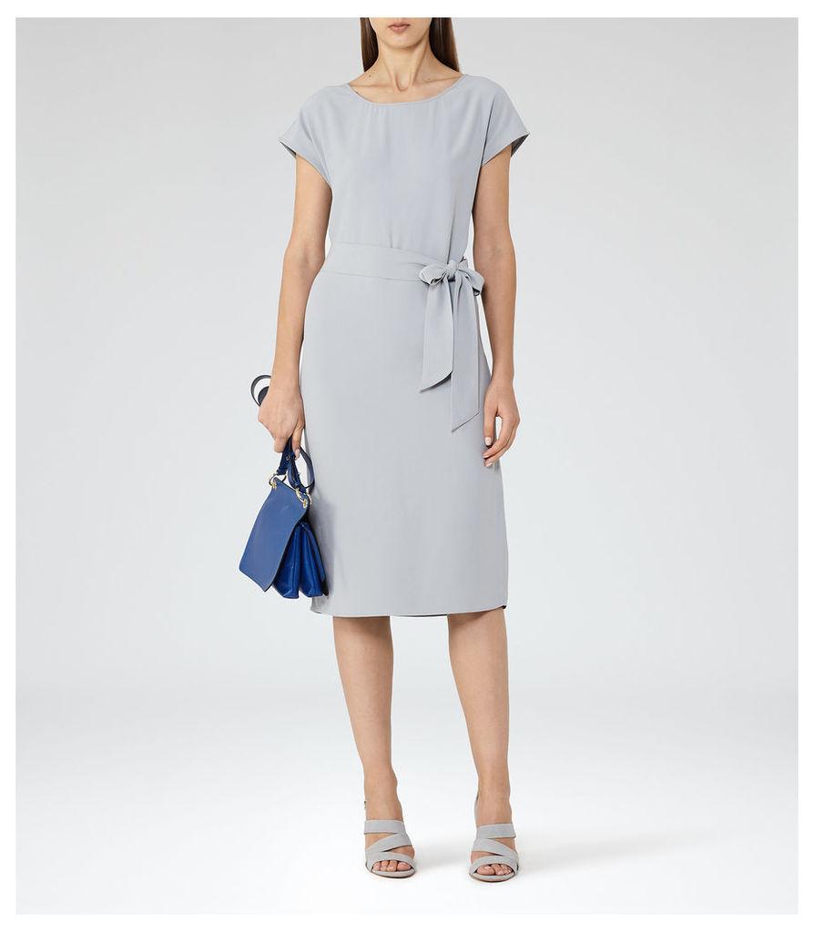 REISS Luiza - Womens Open-back Day Dress in Blue