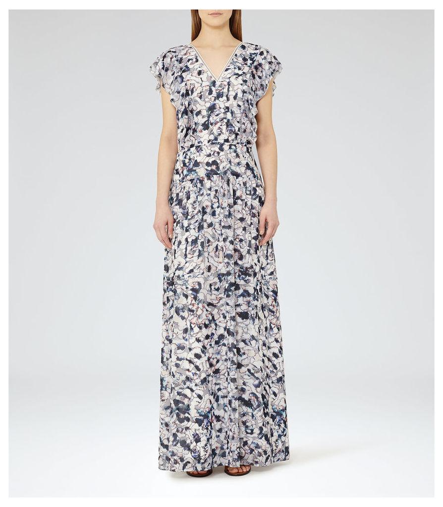 REISS Eli - Womens Printed Maxi Dress in Pink