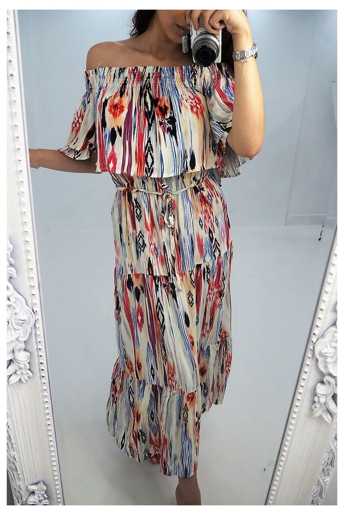 Philly multi printed bardot maxi dress