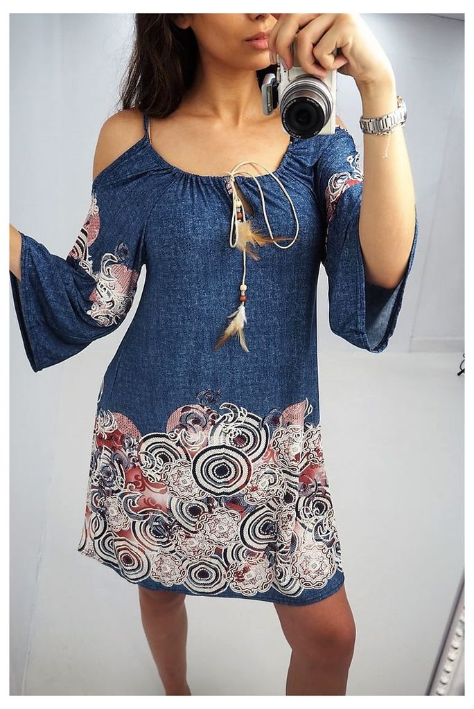 Logan denim paisley printed flared sleeve dress