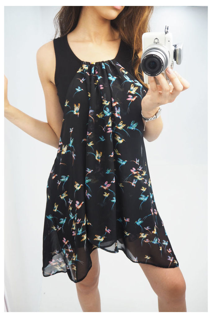 Della Black hummingbird printed drape dress