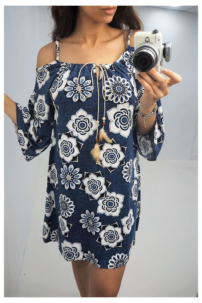 Roxie denim floral printed flared sleeve dress