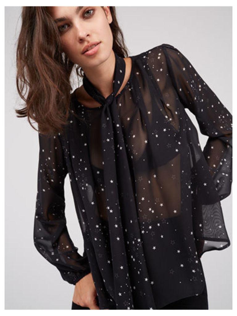 Black Scarf Star Print Blouse
