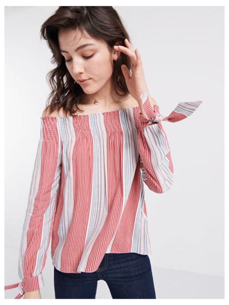 Bali Stripe Tie Sleeve Bardot Top