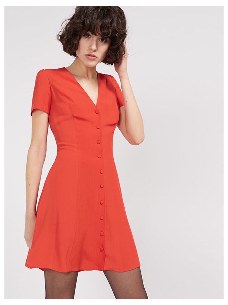 Orange Button Through Waisted Dress