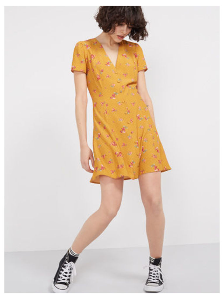 Yellow Anabelle Ditsy Button Through Dress