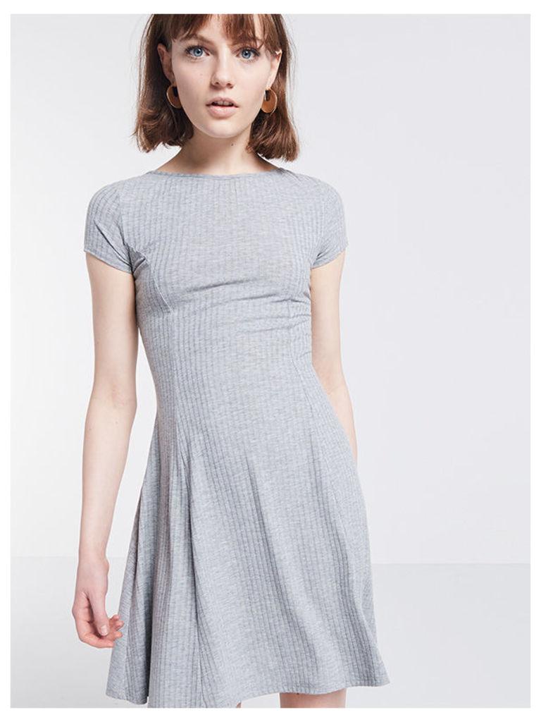 Grey Tie Back Rib Dress