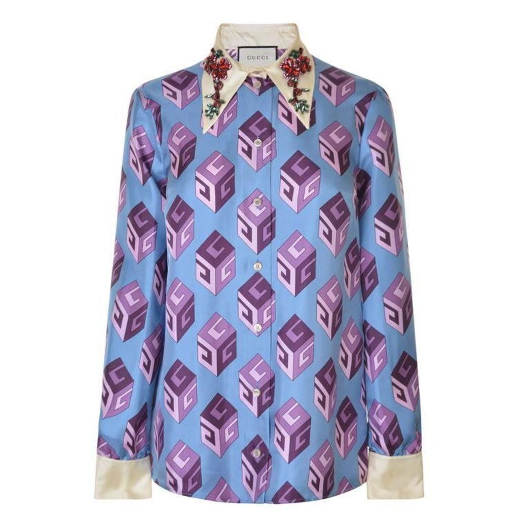 GUCCI Jewelled Silk Twill Printed Shirt