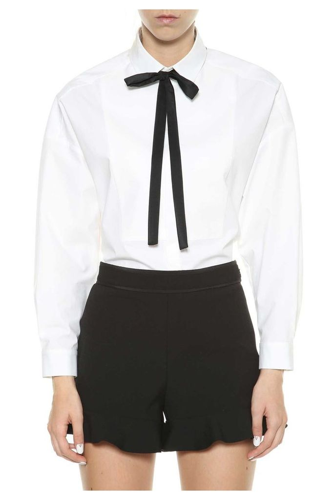 Red Valentino White Shirt With Black Bow