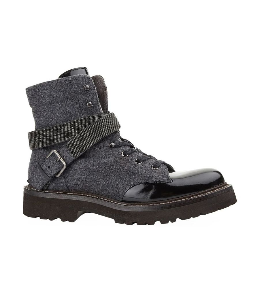 Casmere and Leather Panelled Boots