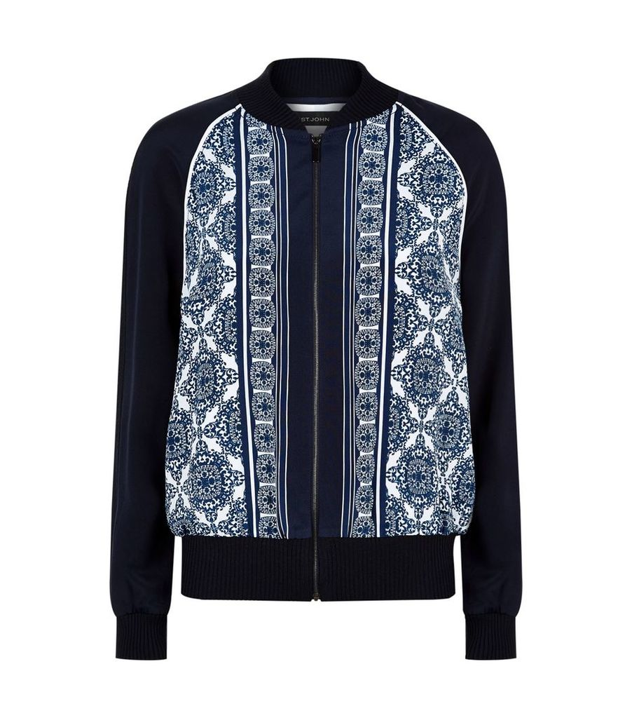Tile Print Silk Blend Bomber Jacket