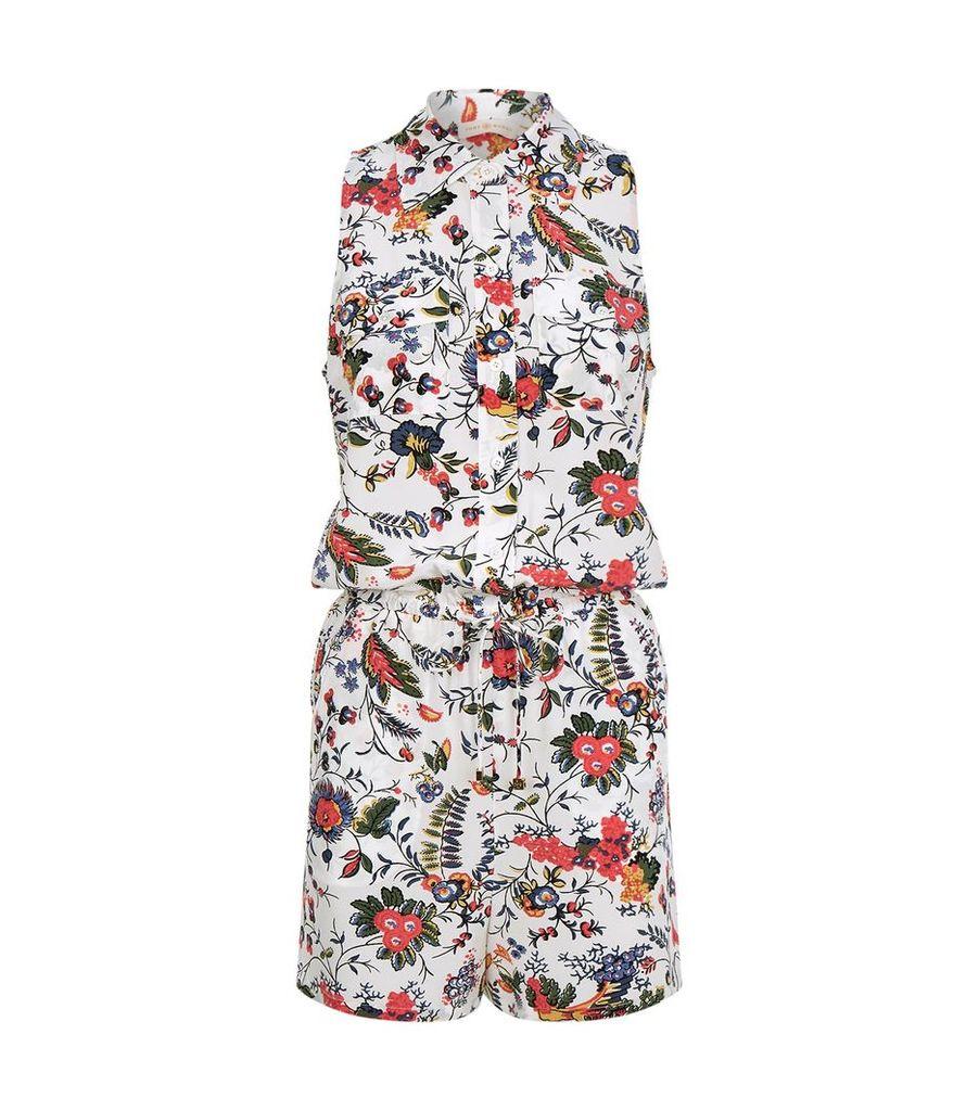 Floral Sleeveless SilkPlaysuit