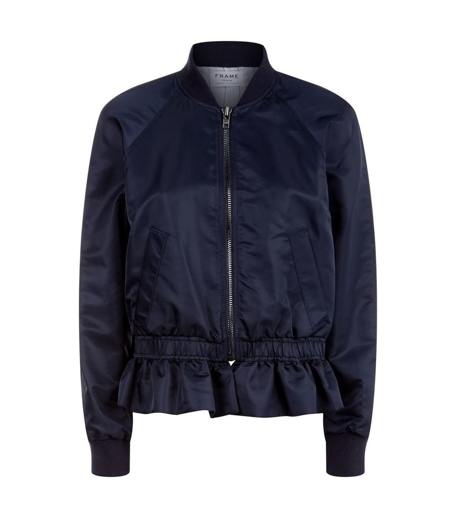 Ruffle Hem Bomber Jacket
