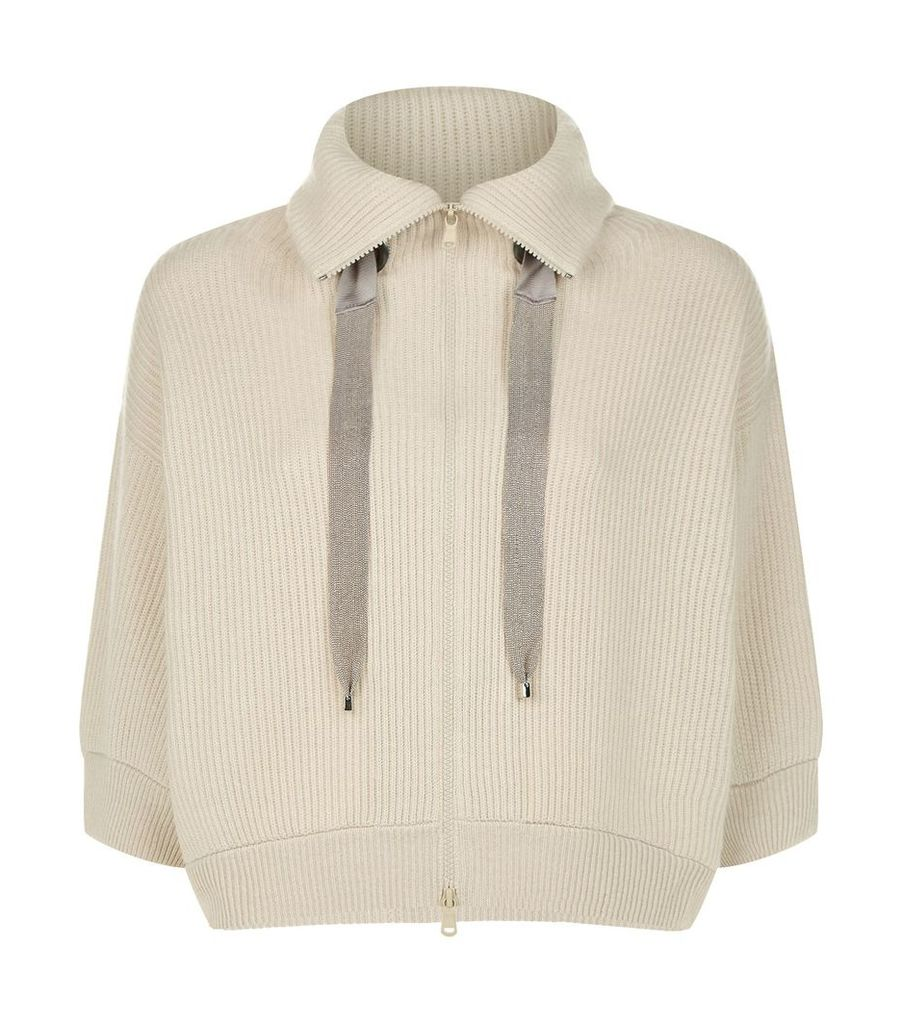 Ribbed Stitch Zip Up Chain Detail Cardigan