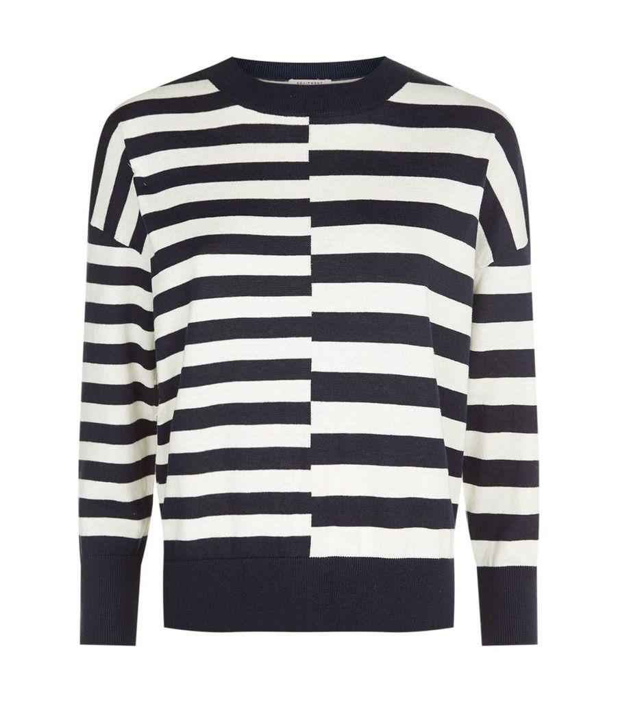 Striped Melanie Cotton and Silk Sweater