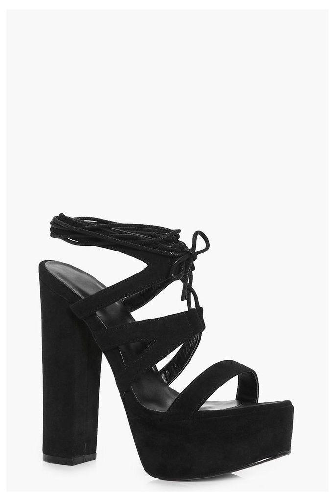 Suedette Wrap Strap Platform Heels - black
