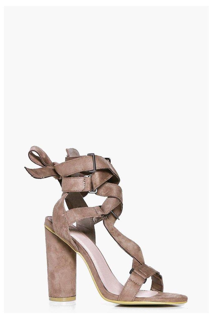 Ribbon Wrap Detail Cylinder Heels - mocha