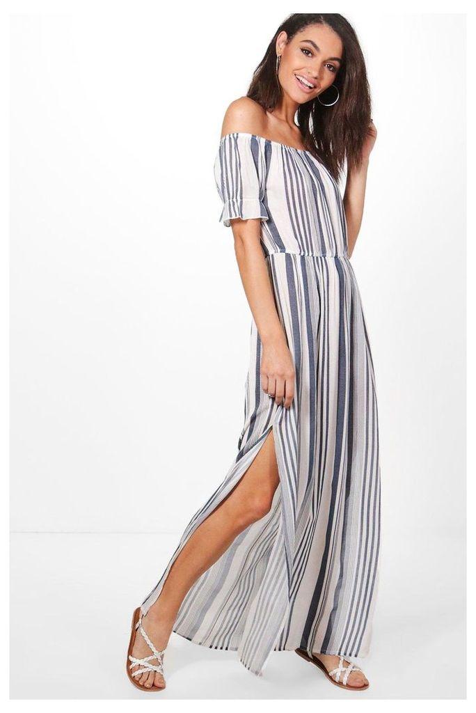 Stripe Frill Sleeve Maxi Dress - multi
