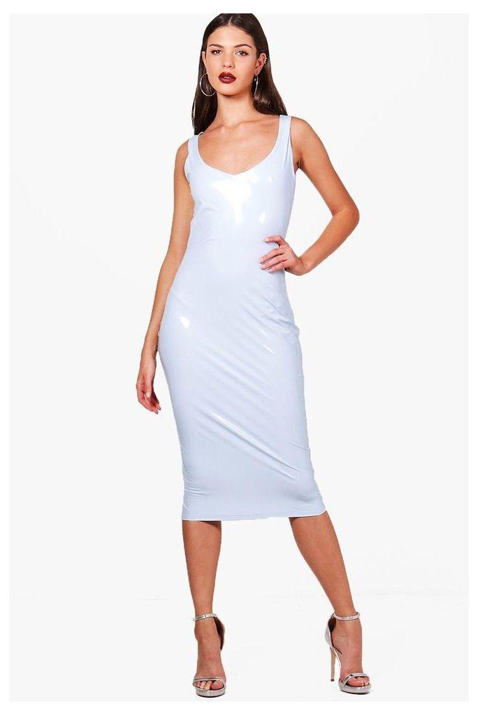 PVC Plunge Neck Bodycon Dress - lilac