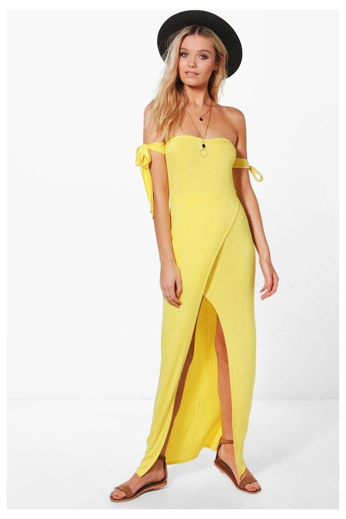 Bandeau Split Front Maxi Dress - yellow