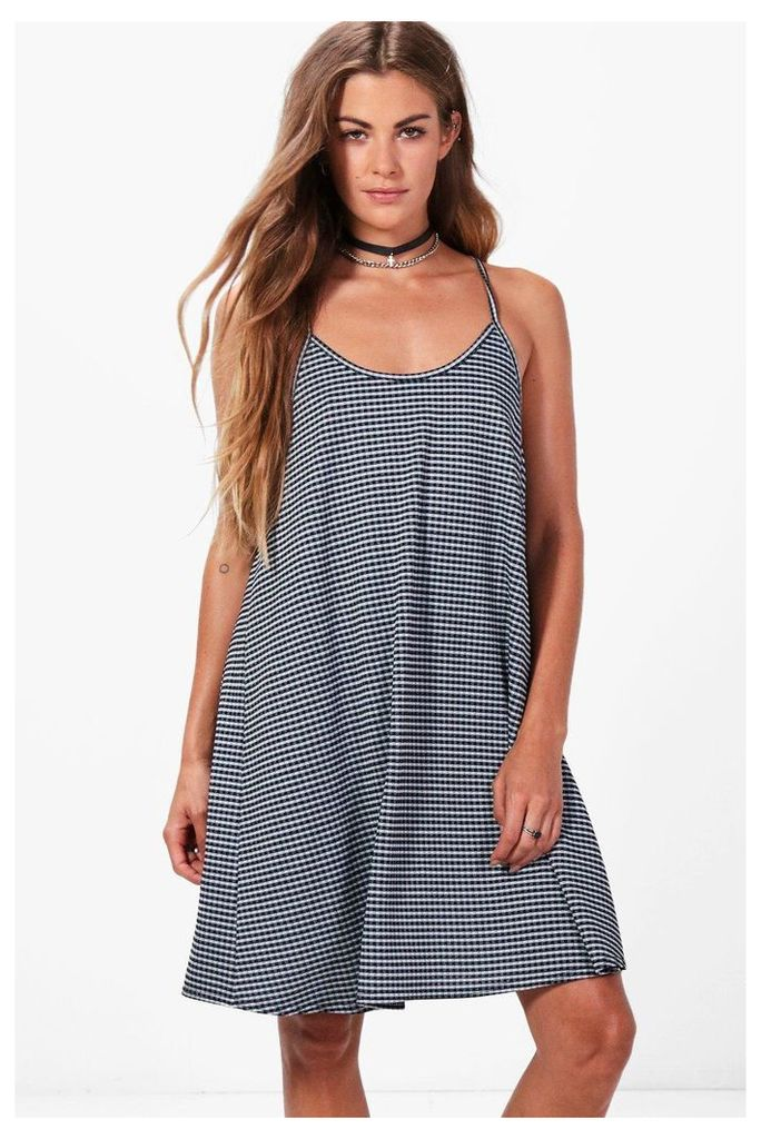 Strappy Gingham Swing Dress - blue