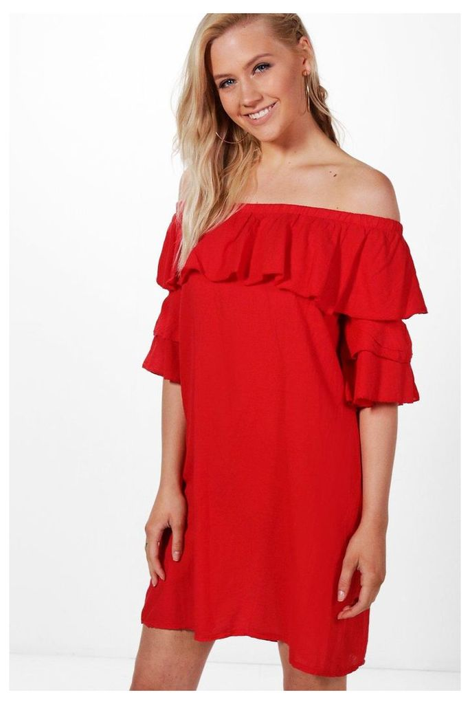 Ruffle Off Shoulder Dress - red