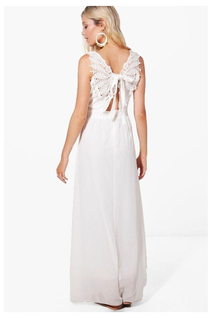 Lace Back Trim Maxi Dress - white