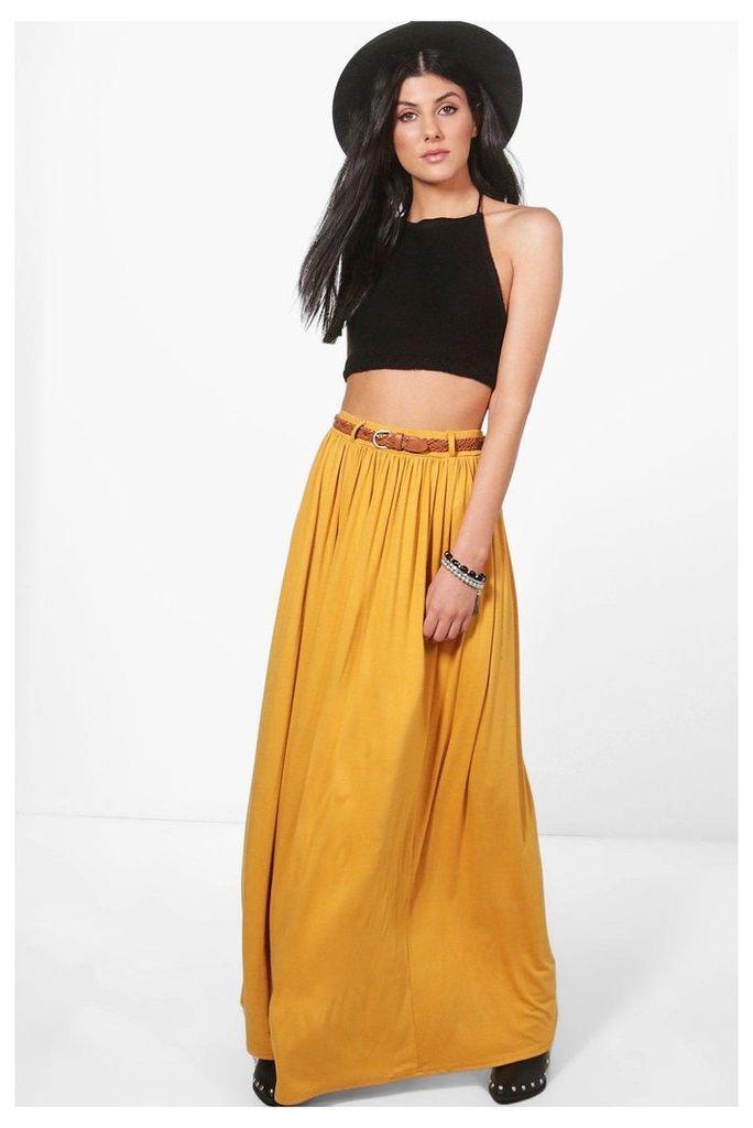 Belted Floor Sweeping Maxi Skirt - mustard
