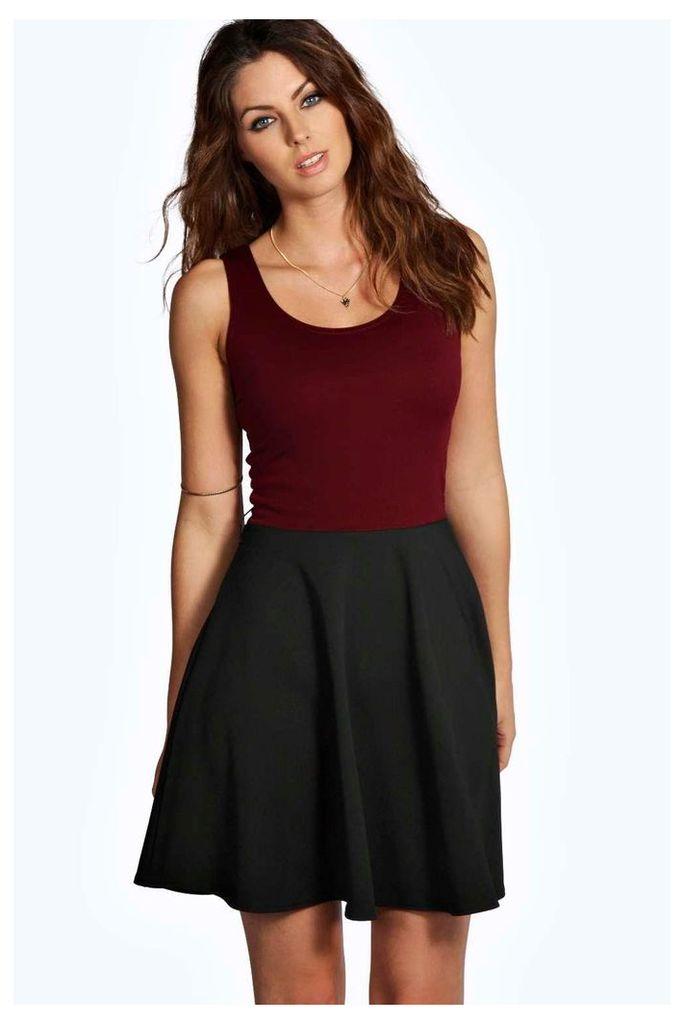 Contrast Skater Dress - berry