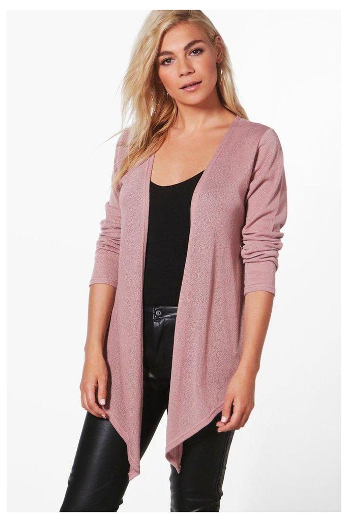 Soft Knit Waterfall Cardigan - blush