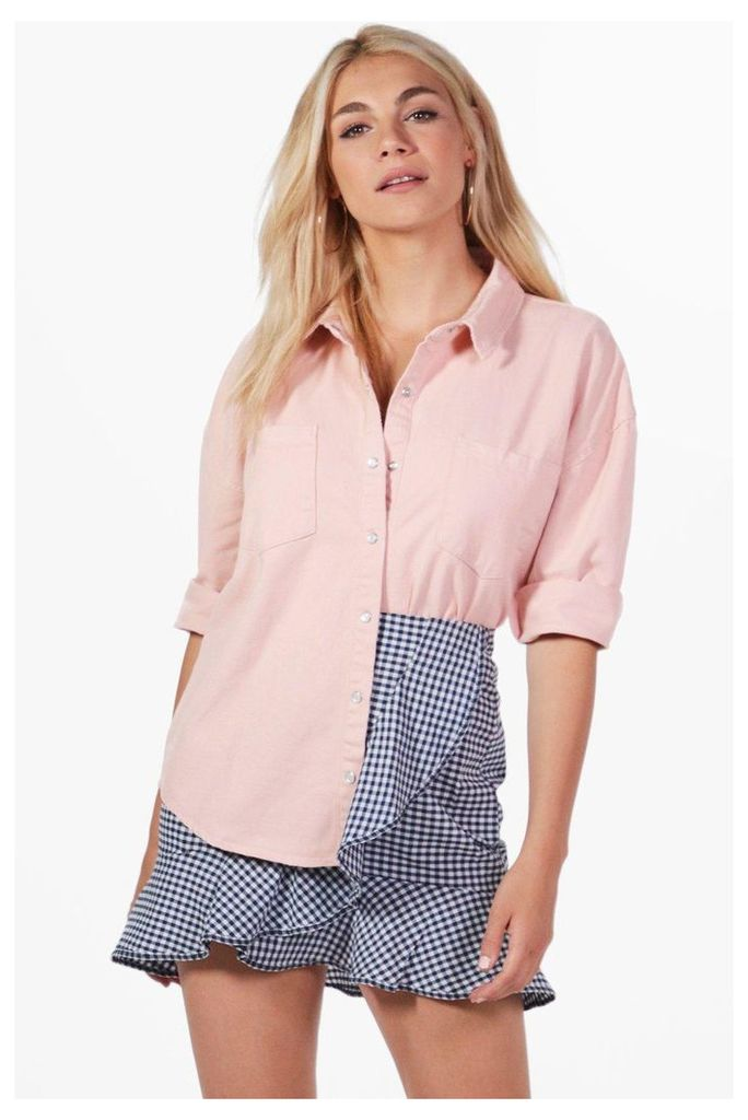 Pink Denim Oversized Shirt - pink