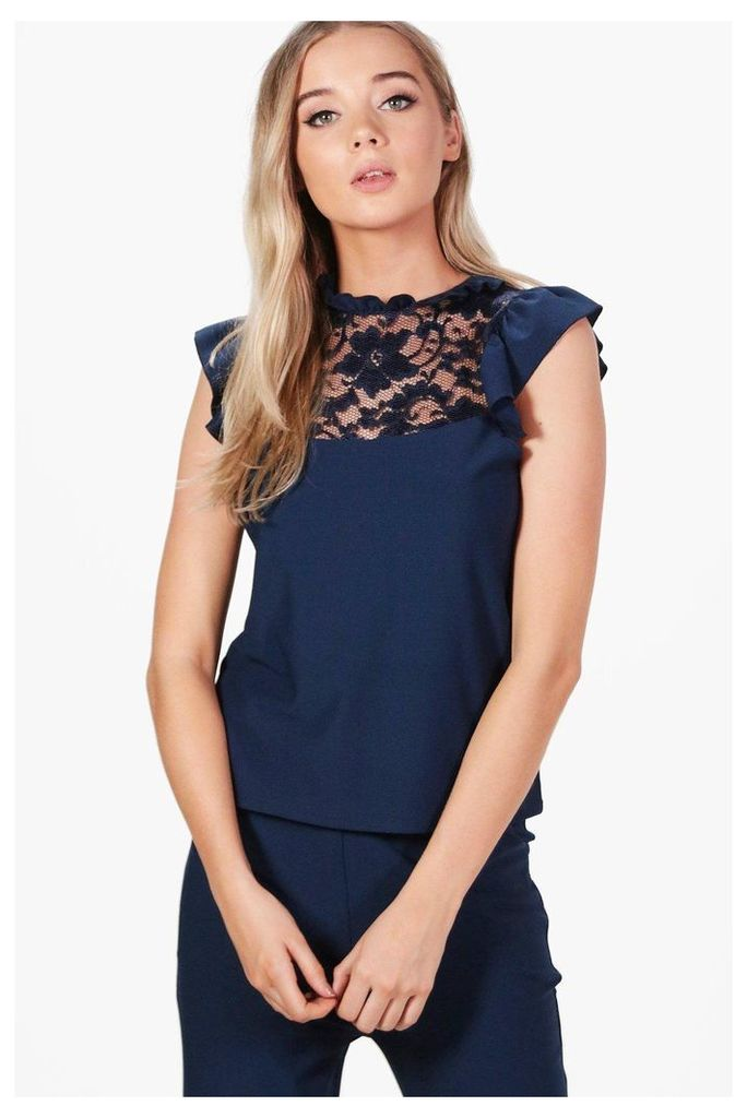 Frill Lace Detail Top - navy
