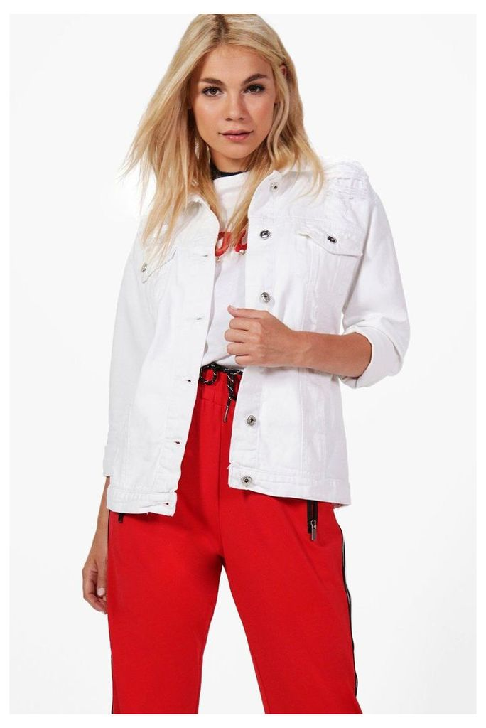 Longline Oversized Denim Jacket - white