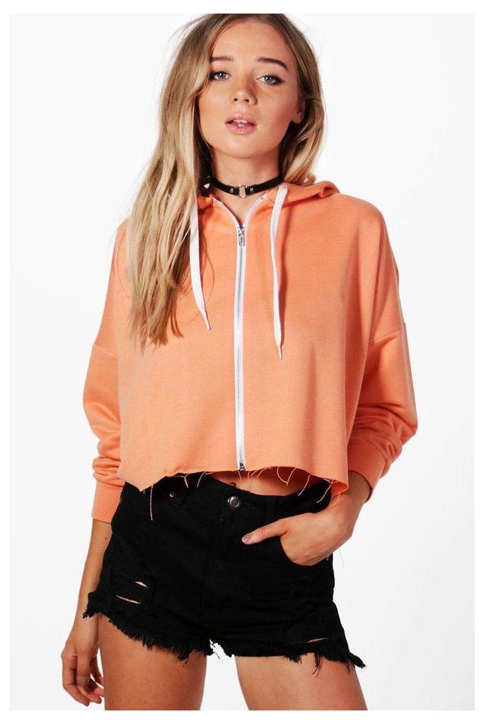 Crop Zip Hoodie - orange