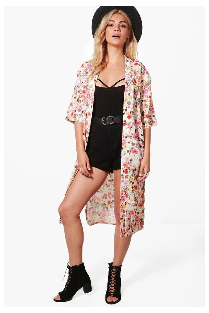 Flower Print Kimono - multi