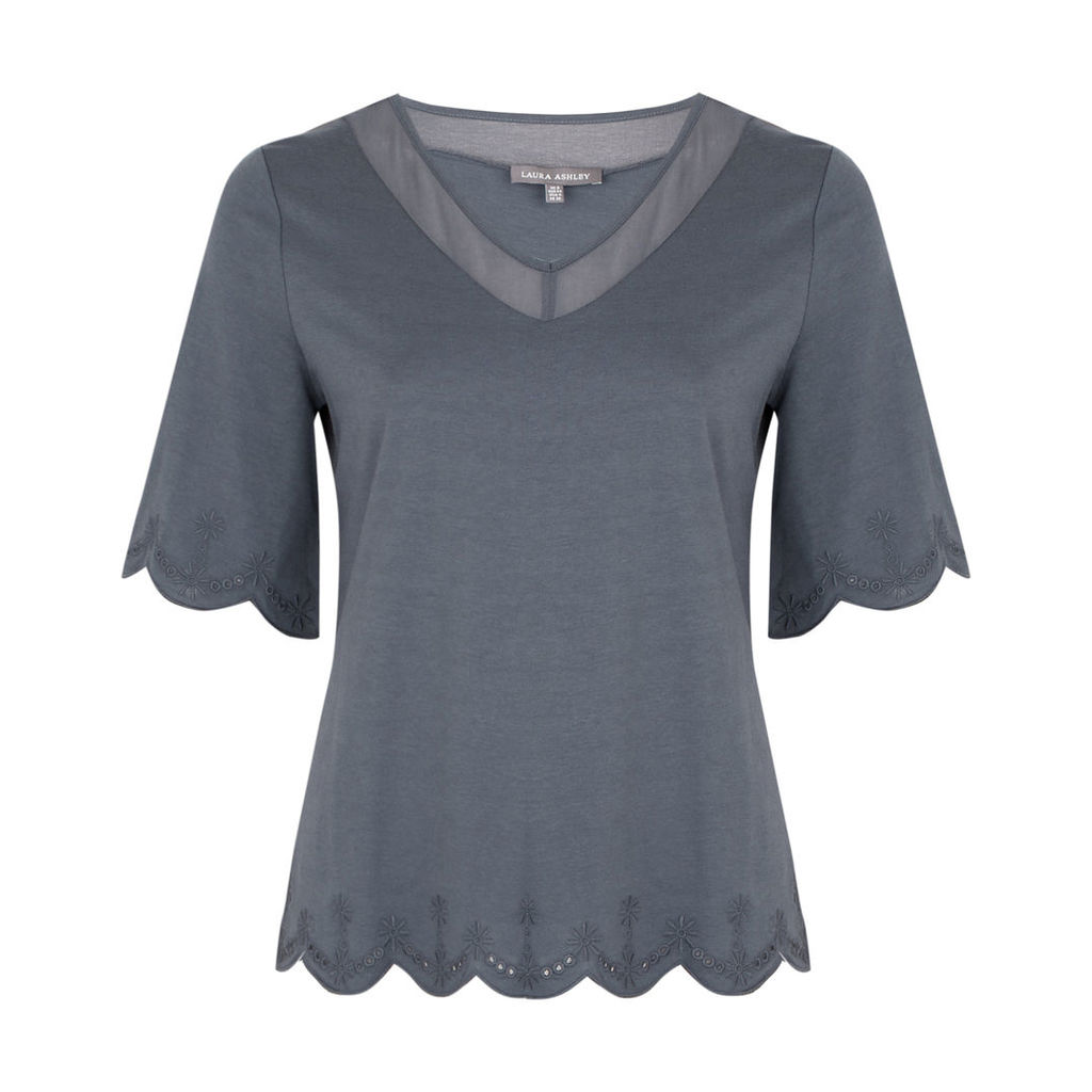 Eyelet Embroderied Top with Woven Detail