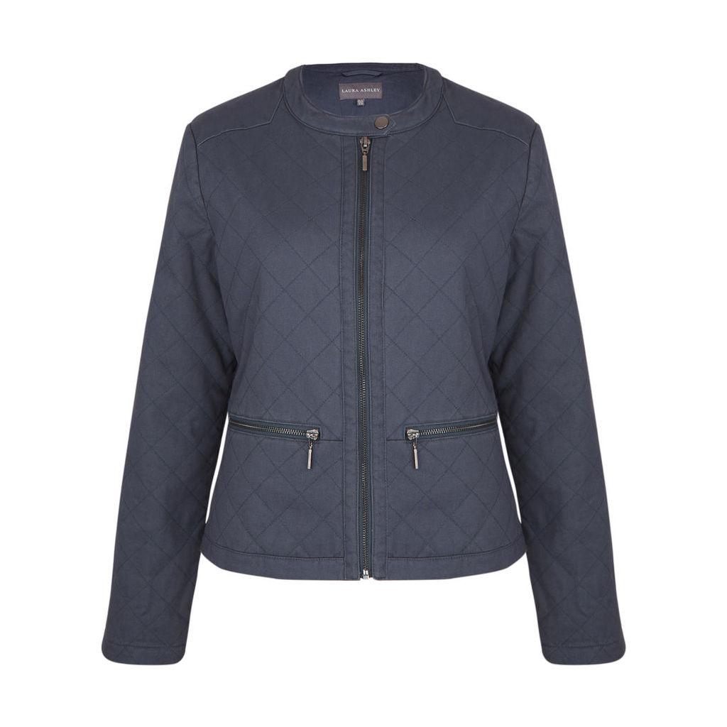 Indigo Quilted Zip Jacket