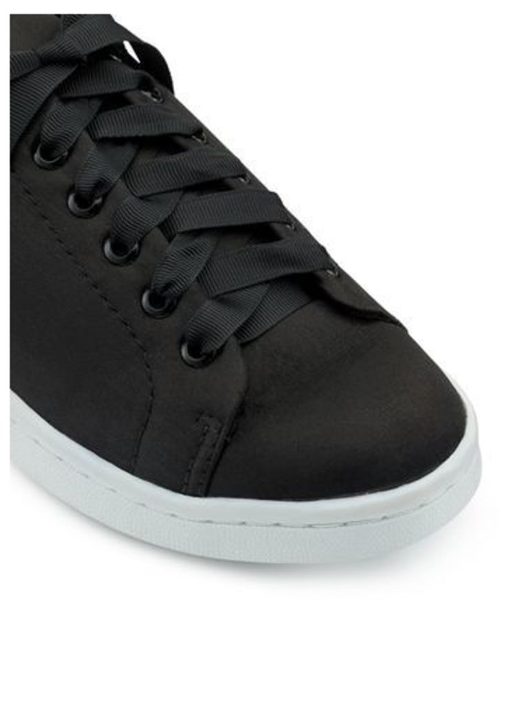 Womens ELODIE Satin Lace Up Trainers, Black