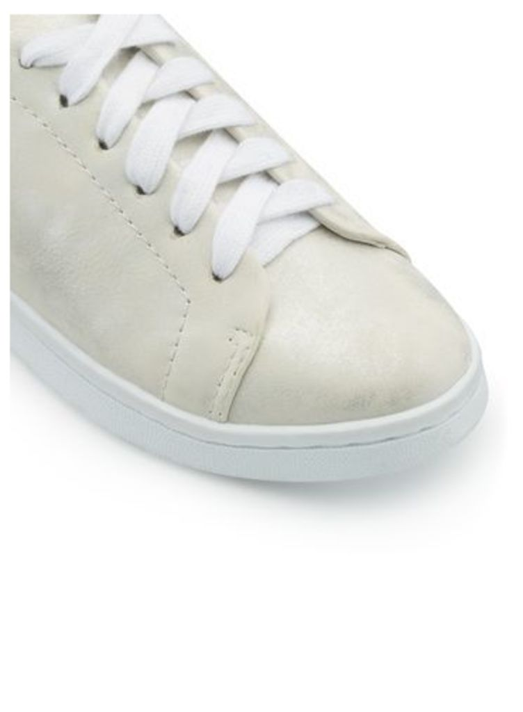 Womens ELODIE Washed Metallic Trainers, Silver Colour