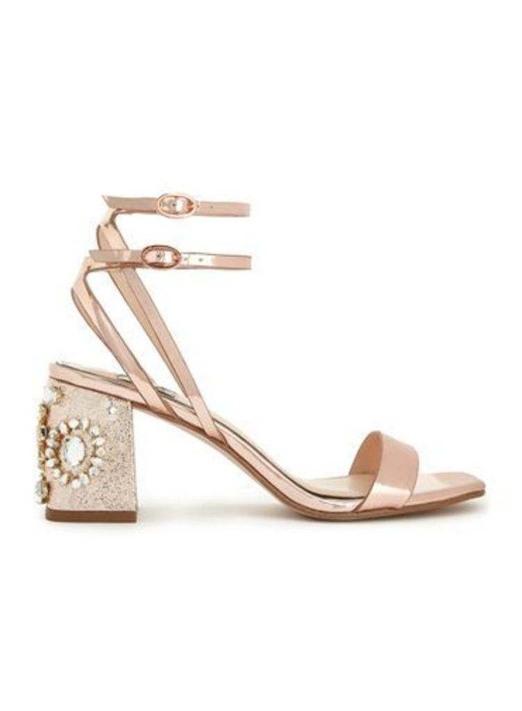 Womens CHARM Rose Gold Sandals, Rose Gold