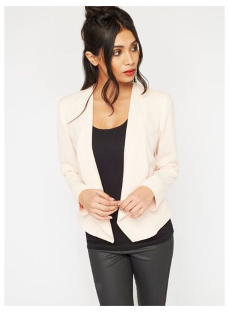Womens Nude Waterfall Blazer, Nude