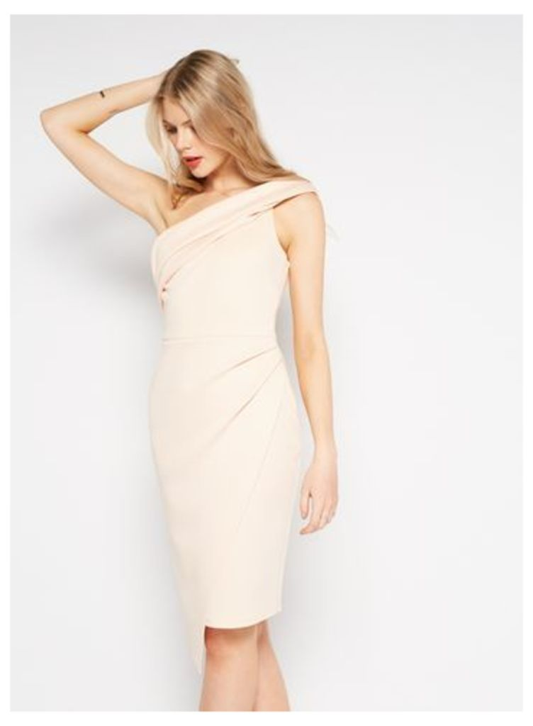 Womens PREMIUM Scuba One Shoulder Dress, Nude